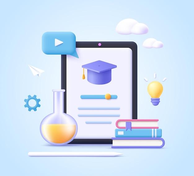 Concept d'application de cours en ligne d'apprentissage mobile