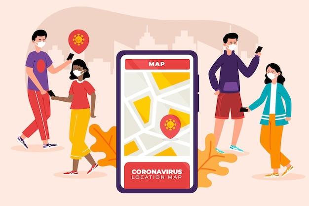 Concept d'application de localisation de suivi de coronavirus