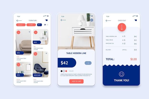 Concept d'application de magasinage de meubles