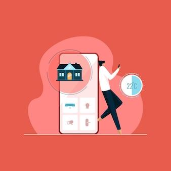 Concept d'application de maison intelligente système domotique contrôle de la maison technologie futuriste iot