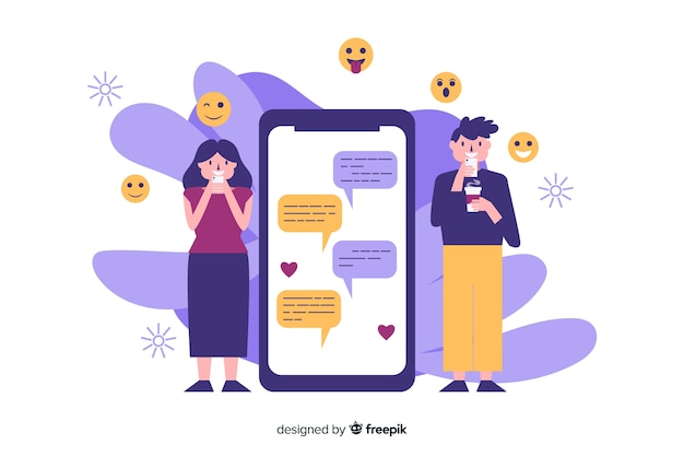 Concept d'application de rencontres avec illustrations