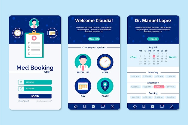 Concept d'application de réservation médicale