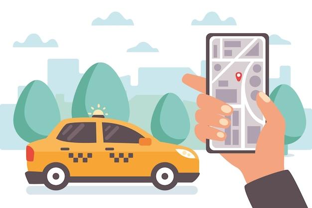 Concept d'application de taxi illustré
