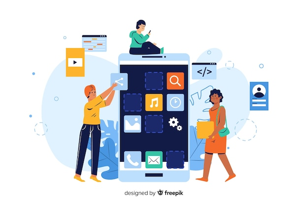 Concept d'applications mobiles pour la page de destination