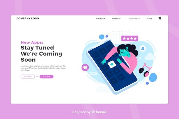 Concept d'applications mobiles pour les pages de destination