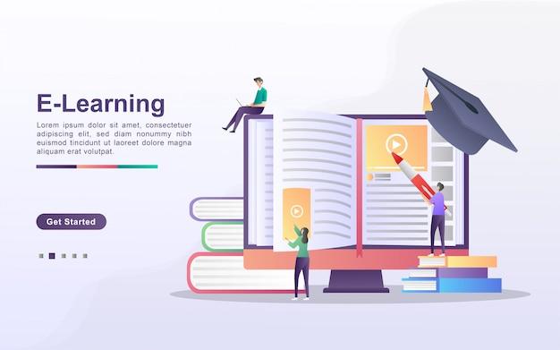 Concept d'apprentissage e avec caractère de personnes