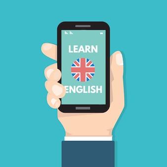 Concept d'apprentissage en ligne anglais mobile, application d'apprentissage. illustration