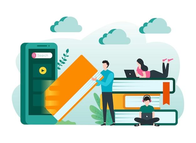 Concept d'apprentissage en ligne avec des étudiants qui étudient en ligne