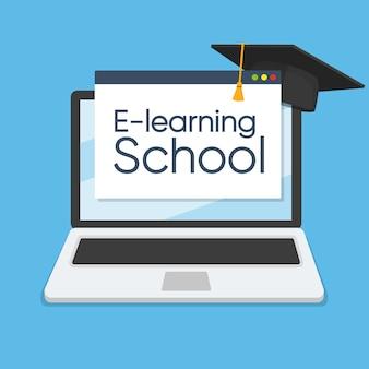 Concept d'apprentissage en ligne sur ordinateur portable