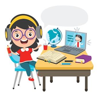 Concept d'apprentissage en ligne avec personnage de dessin animé