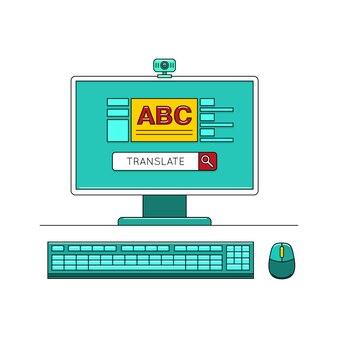 Concept d'apprentissage linguistique en ligne avec ordinateur