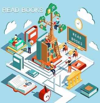 Le concept d'apprentissage, lire des livres dans la bibliothèque, arbre de connaissances, design plat isométrique