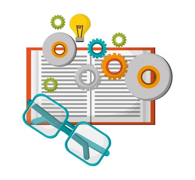 Concept d'apprentissage lunettes idée d'engrenage