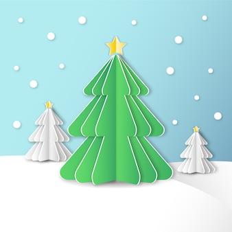 Concept d'arbre de noël dans le style de papier