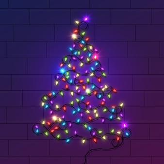 Concept d'arbre de noël fait d'ampoules