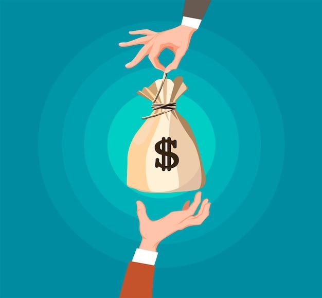Concept d'argent d'échange en dessin animé.