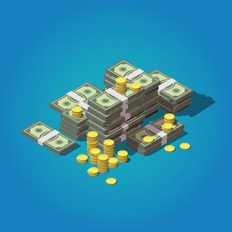 Concept d'argent isométrique