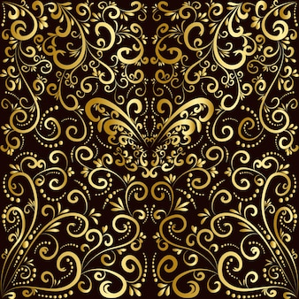 Concept d'art abstrait papillon et plante d'or
