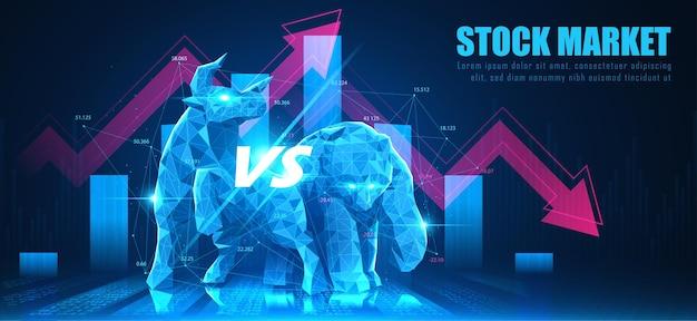 Concept art de bearish dans une idée futuriste adaptée au marketing boursier ou à l'investissement financier