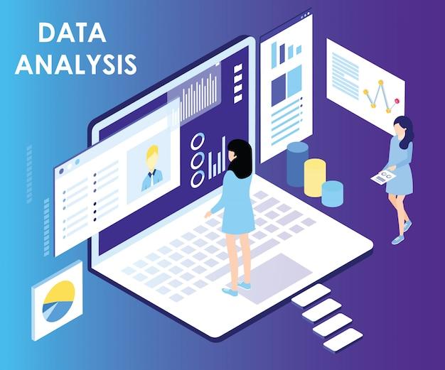 Concept d'art isométrique d'analyse de données