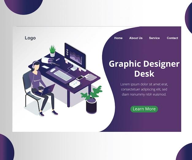 Concept d'art isométrique d'un bureau de concepteur graphique.