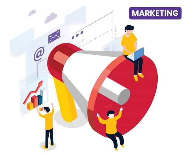 Concept d'art isométrique du marketing.