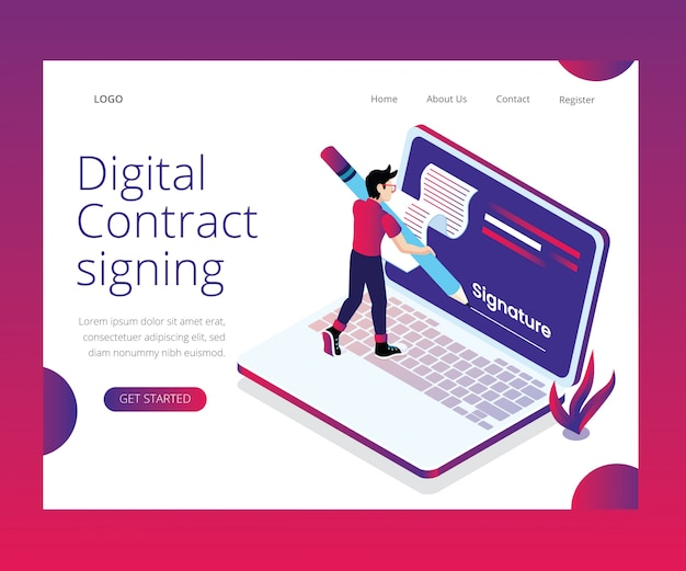 Concept d'art isométrique de signature du contrat numérique.