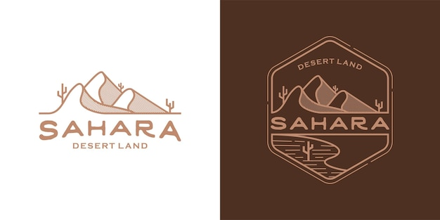 Concept d'art de ligne terrestre du désert. modèle de conception d'illustration de logo du désert du sahara