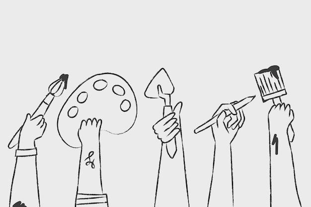 Concept d'artiste bricolage art créatif vecteur doodle