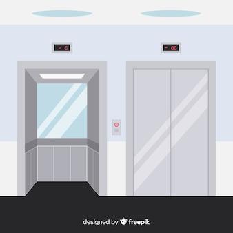 Concept d'ascenseur plat avec porte ouverte et fermée