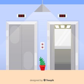 Concept d'ascenseur avec porte ouverte et fermée dans un style plat