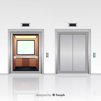 Concept d'ascenseur avec porte ouverte et fermée