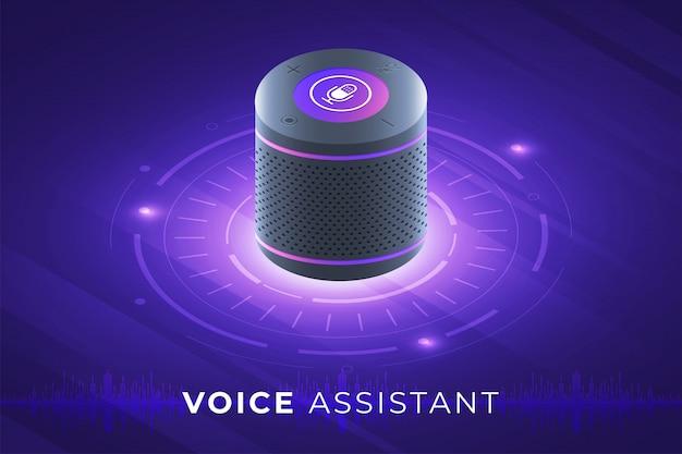 Concept assistant vocal internet des objets. contrôler tout avec parler à l'appareil. graphique moderne. illustration isométrique.