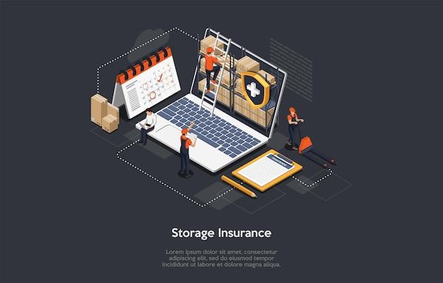 Concept d'assurance cargaison isométrique.