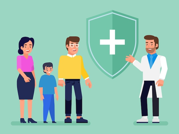 Concept d'assurance médicale, santé et vie. agent d'assurance avec bouclier protecteur et famille souriante avec enfant. illustration plate.