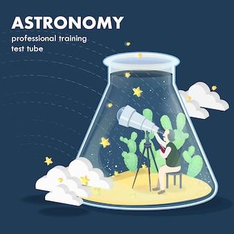 Concept d'astronomie en graphiques isométriques