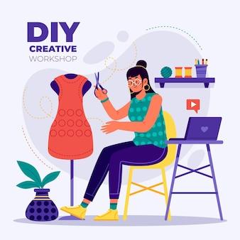 Concept d'atelier créatif bricolage
