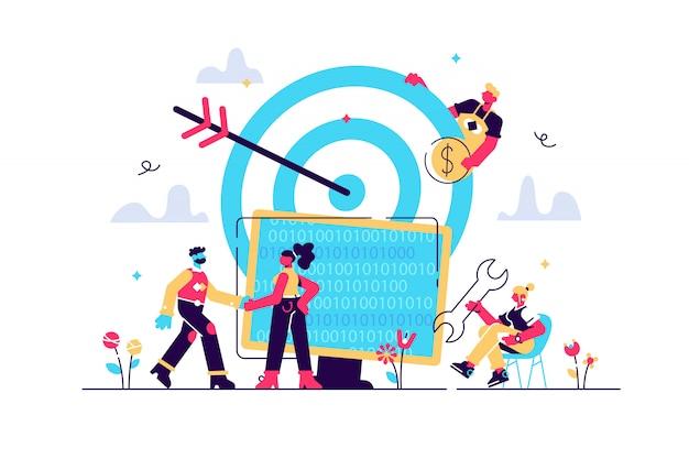 Concept atteignez la cible pour la page web, la bannière, la présentation, les médias sociaux, les documents. illustration business porteurs une équipe réussie, carrière vers le succès, bon travail, code, développement web