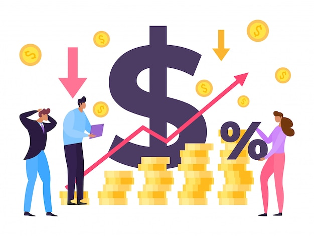 Concept d'augmentation du prix de l'argent inion, illustration. homme et femme regardant la croissance des dépenses en produits et services.
