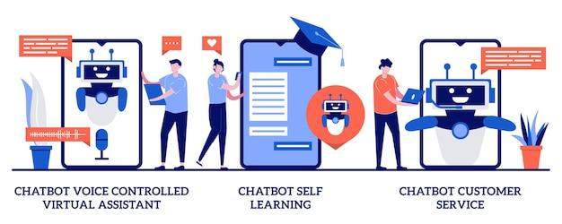 Concept d'auto-apprentissage et de service client avec illustration de personnes minuscules