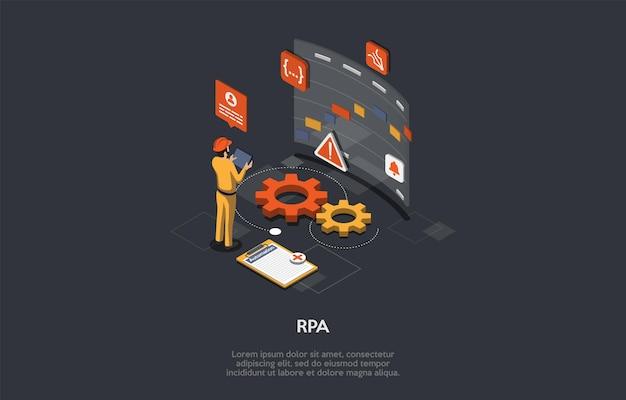 Concept d'automatisation des processus robotiques. la technologie moderne permet de configurer un logiciel informatique ou d'émuler et d'intégrer les actions d'un humain en interaction