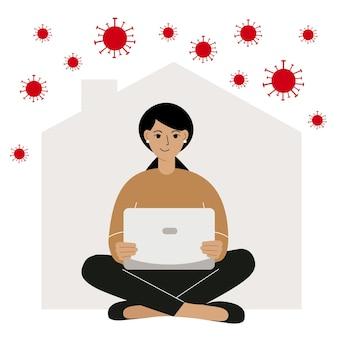 Concept d'autoquarantaine travail à domicile pendant une épidémie de virus la personne travaillant sur un ordinateur portable vec