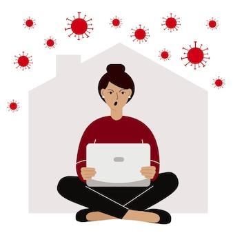 Concept d'autoquarantaine travail à domicile pendant une épidémie de virus la personne travaillant sur un ordinateur portable