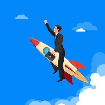 Concept d'avance, l'homme vole victorieusement avec la fusée devant tous ses rivaux