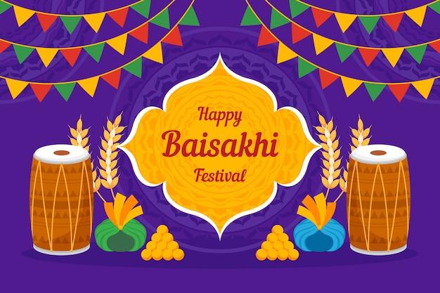 Concept de baisakhi heureux design plat