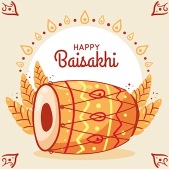 Concept de baisakhi heureux dessinés à la main