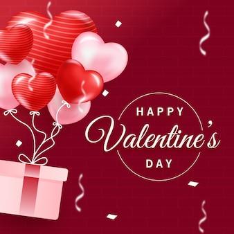 Concept de ballon coeur réaliste saint valentin