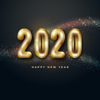 Concept de ballons réaliste nouvel an 2020