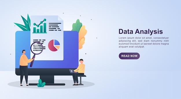 Concept de bannière d'analyse des données avec la personne analysant le graphique.