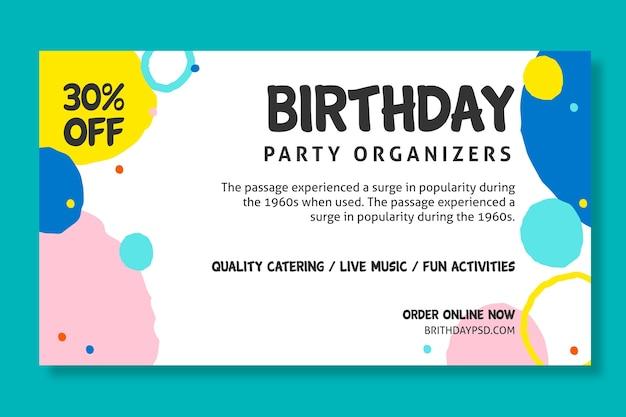 Concept de bannière d'anniversaire